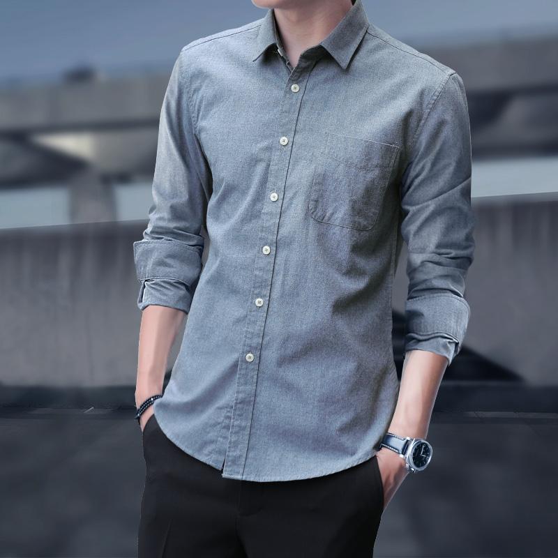 Длинный рукав сорочка мужской осень чистый хлопок молодежный короткий рукав дюйм для отдыха приталенный корейская версия рукав три четверти лето модные рубашка