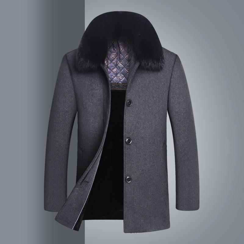 外套大衣男中老年呢大衣冬季加厚短款爸爸羊毛毛呢呢子毛领爸爸装