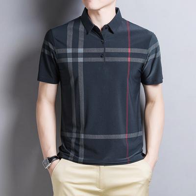 质感太棒了中老年短袖t恤夏季polo衫翻领爸爸格子冰丝体恤男半袖