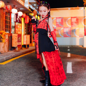 Hip Hop Dance Costumes for girls Jazz Dance Dress Chinese style girl show fashion fashion personality model performance clothes children model fashion suit children Jazz Dance
