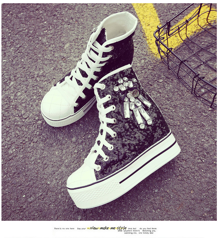 YD-EVER women Casual Shoes platform wedge shoes height increasing super high heel bling diamond crystal sneakers fashion boots 16