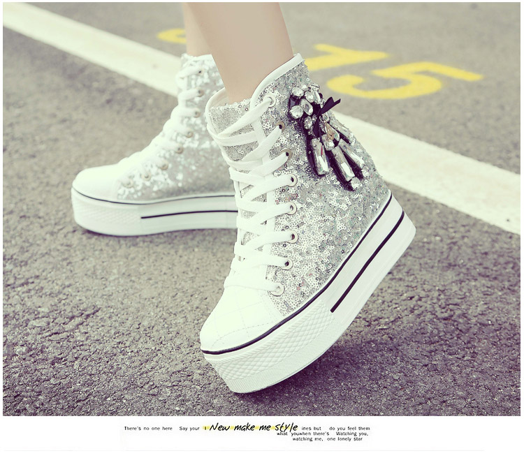 YD-EVER women Casual Shoes platform wedge shoes height increasing super high heel bling diamond crystal sneakers fashion boots 22