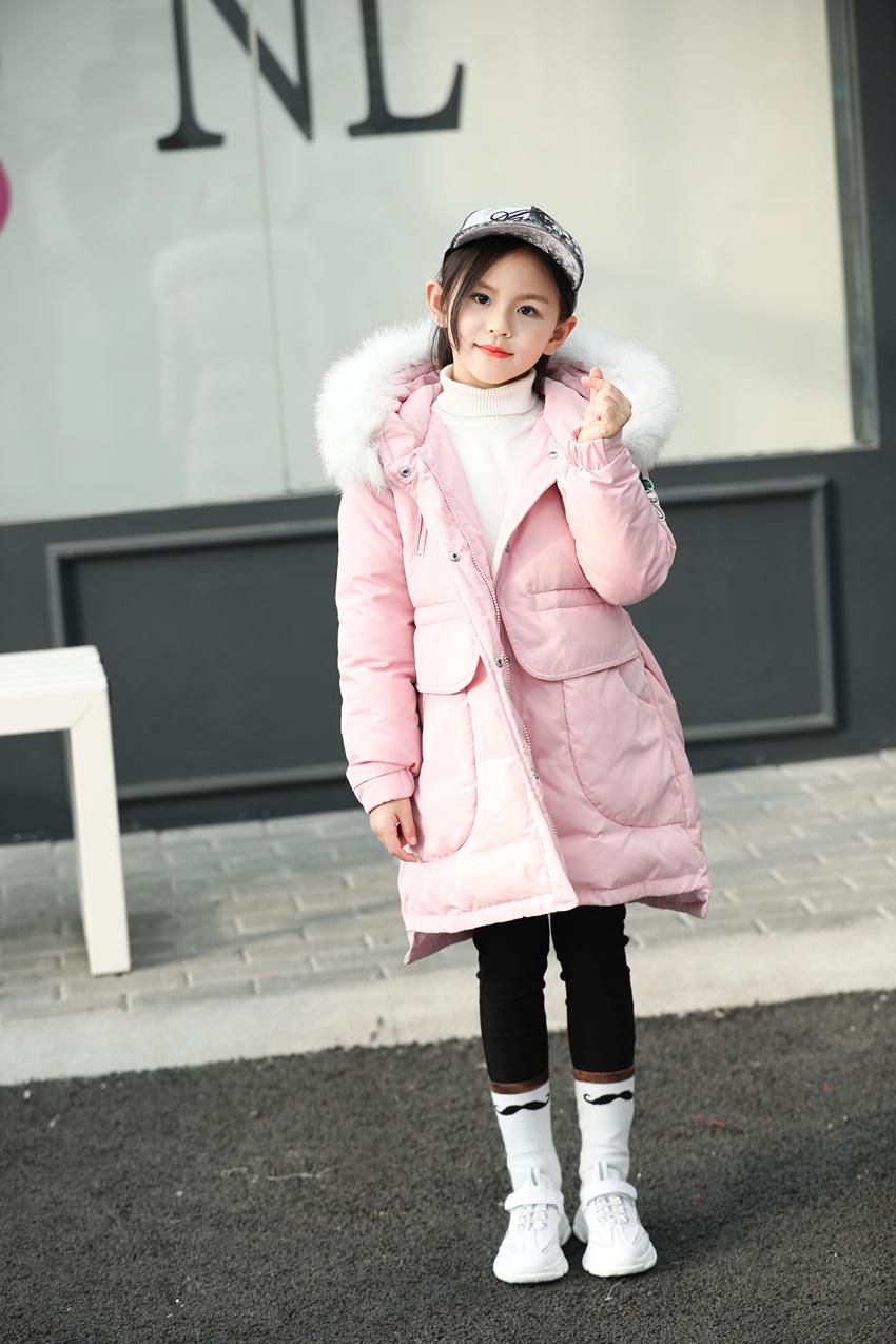 反季女童羽绒服儿童中长款2018新款韩版女孩中大童装清仓品牌正品