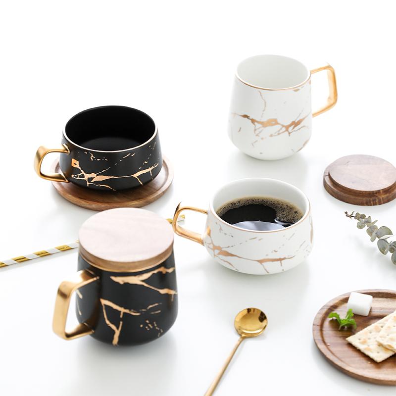 北欧ins风咖啡杯红茶早餐马克杯石纹杯杯碟杯描金大理陶瓷配木盖