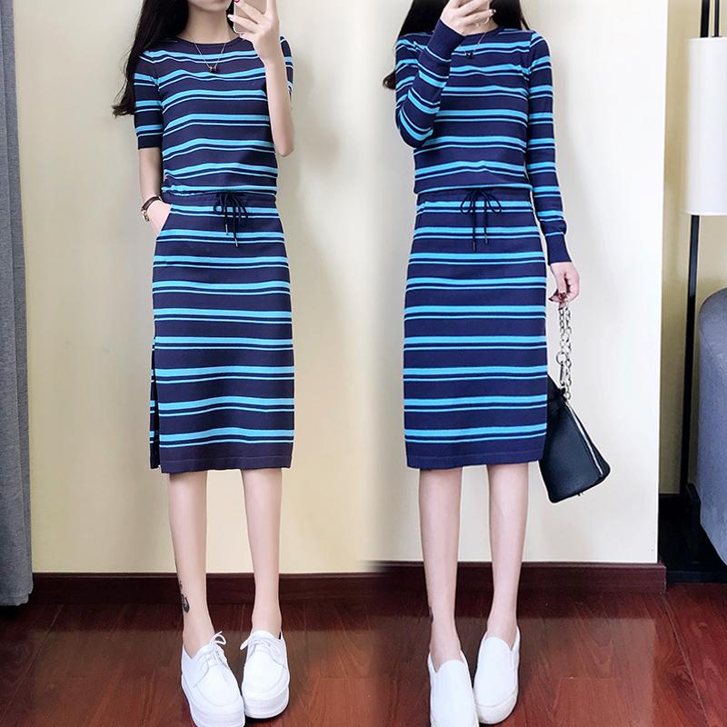 2018夏装新款连衣裙胖MM时尚收腰显瘦圆领针织女长短袖中长裙秋装