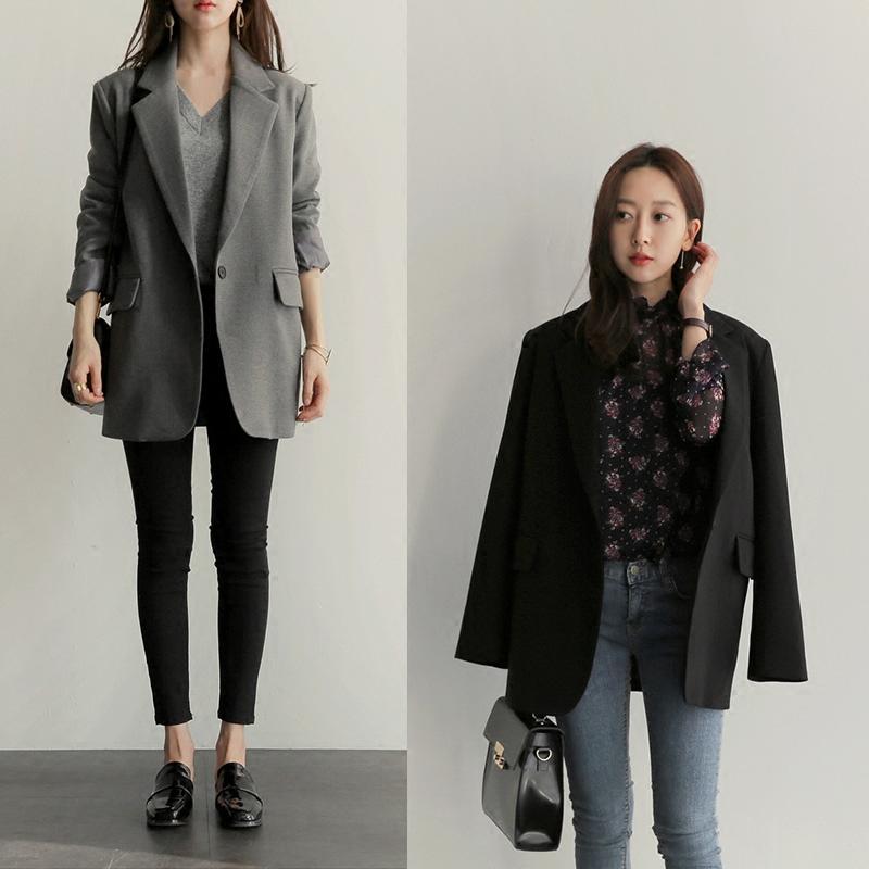 2018秋季新款韩版宽松小西装女中长款休闲显瘦大码西服百搭外套
