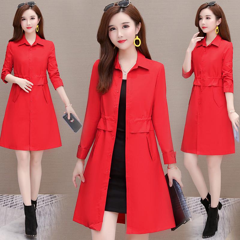 红色风衣女中长款春秋薄款小个子显瘦时尚韩版休闲2019新款外套潮