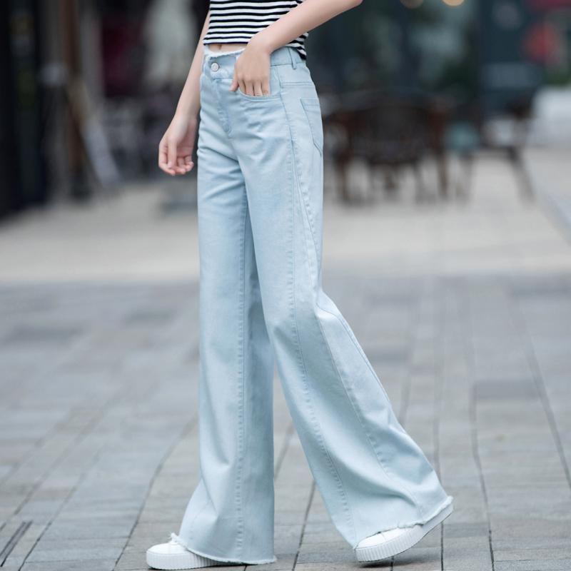 长裤高腰阔腿裤女宽松垂坠感喇叭裤直筒微喇牛仔裤女夏季薄款浅色