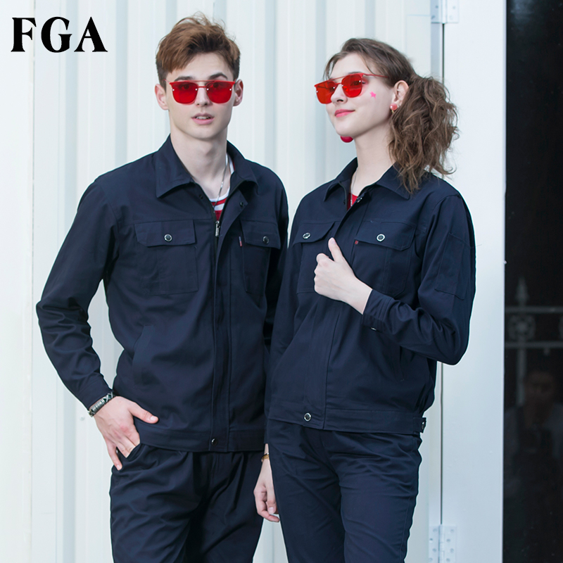 FGA cotton overalls suit male wear-resistant Auto Repair Service anti-iron flame-retardant welding tooling factory clothing labor insurance clothing