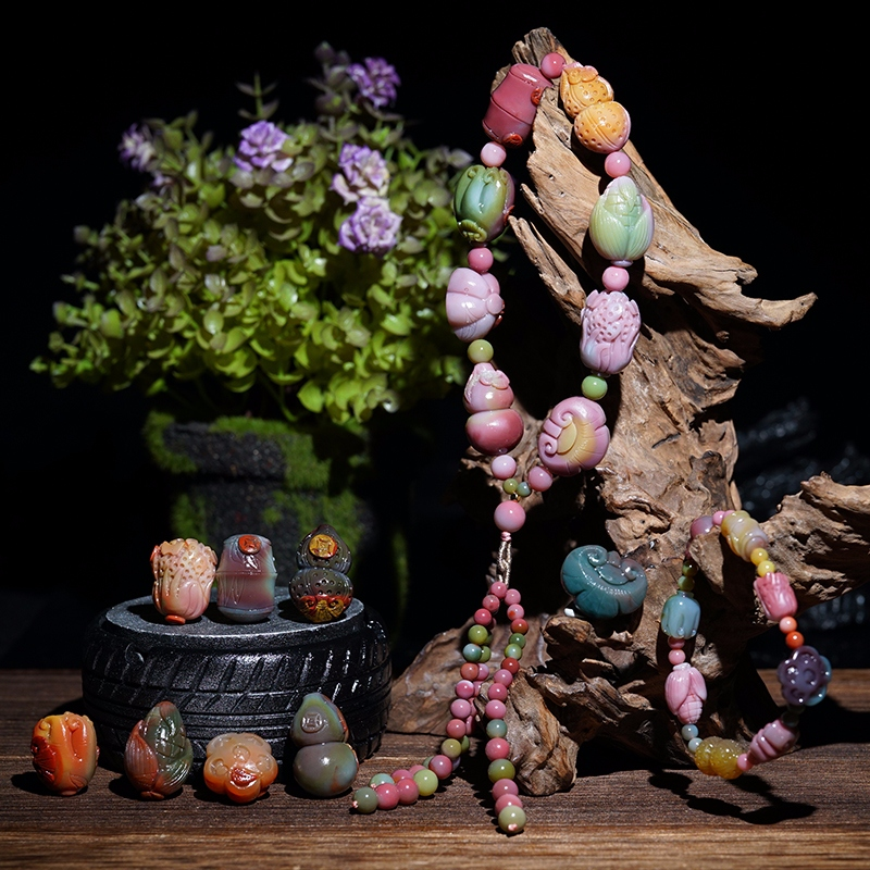 Natural salt source Agate colorful Southern Red eight treasures hand string hand chain ornaments carved pieces pendant loose beads multi-circle flower beads