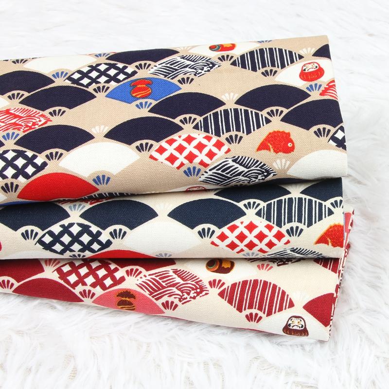 台湾厚棉布和风小扇子达摩印花面料手工DIY口金包包面料仿棉麻