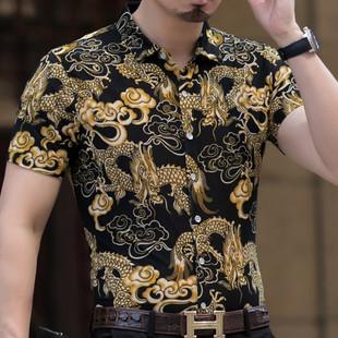 男式冰丝夏季男短袖衬衫韩版休闲衬衣潮