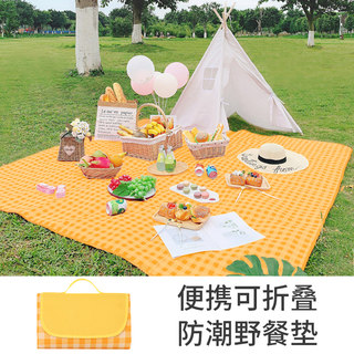Picnic mat damp proof mat outdoor portable picnic mat field lawn cloth thickened waterproof net red goods