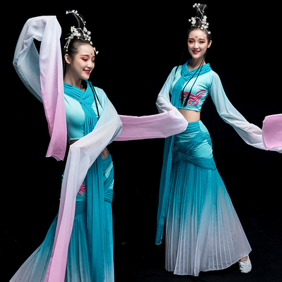 Chinese Folk Dance Costume Watersleeve Dance Costume Female Classical Dance Costume Chinese Wind Fairy Caiwei Dance Costume Adult