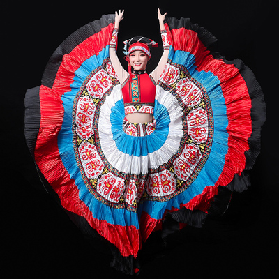 Chinese Folk Dance Costume women full set of Yunnan minority dance dress performance clothes colorful Torch Festival adults