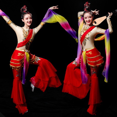 Chinese Folk Dance Costume Classical Dancing Costume lady Chinese wind Dunhuang flying Chang'e running to the moon Pipa Dance Costume Fairy