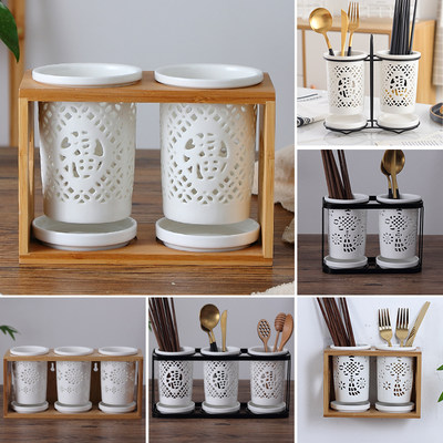 Ceramic chopsticks tube drain wall hanging chopsticks Commercial chopsticks Barrels Japanese chopsticks chopsticks Creative chopsticks cage household