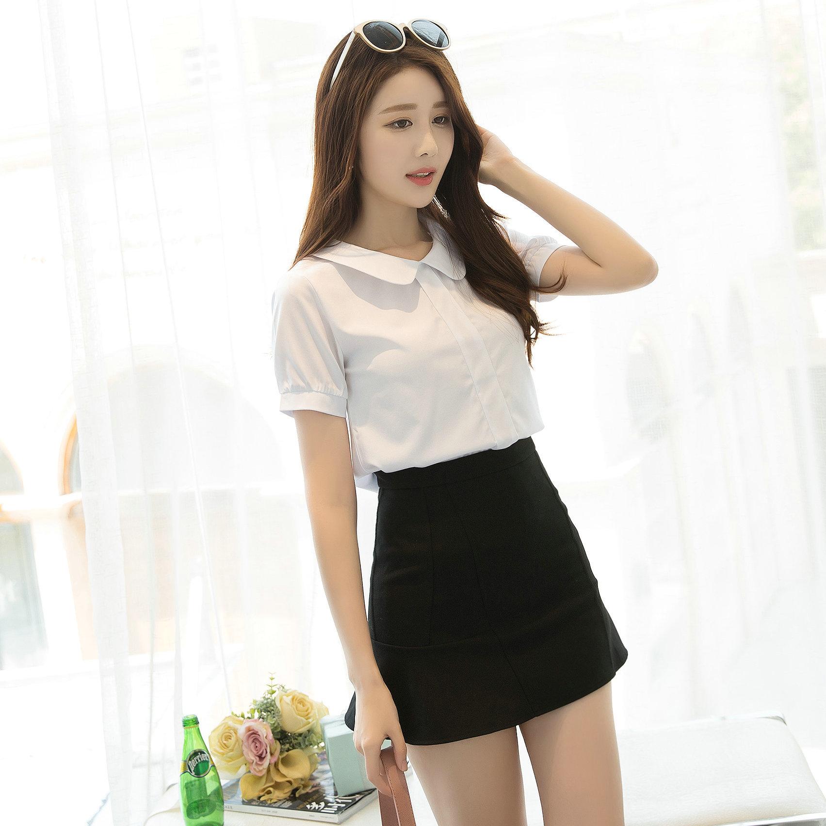 一件代发短袖女衬衫2017新款韩版上衣衬衫白雪纺夏秋v短袖短袖打底