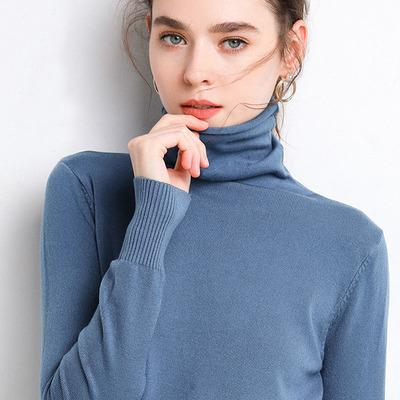 圣月馨秋冬堆堆领毛衣女套头内搭毛针织衫短款高领宽松打底衫大码