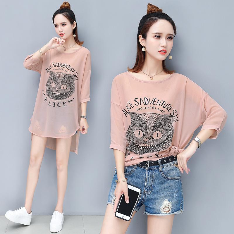 中长款T恤女2019夏季新款款式流行气质猫头鹰图案宽松潮流时尚款
