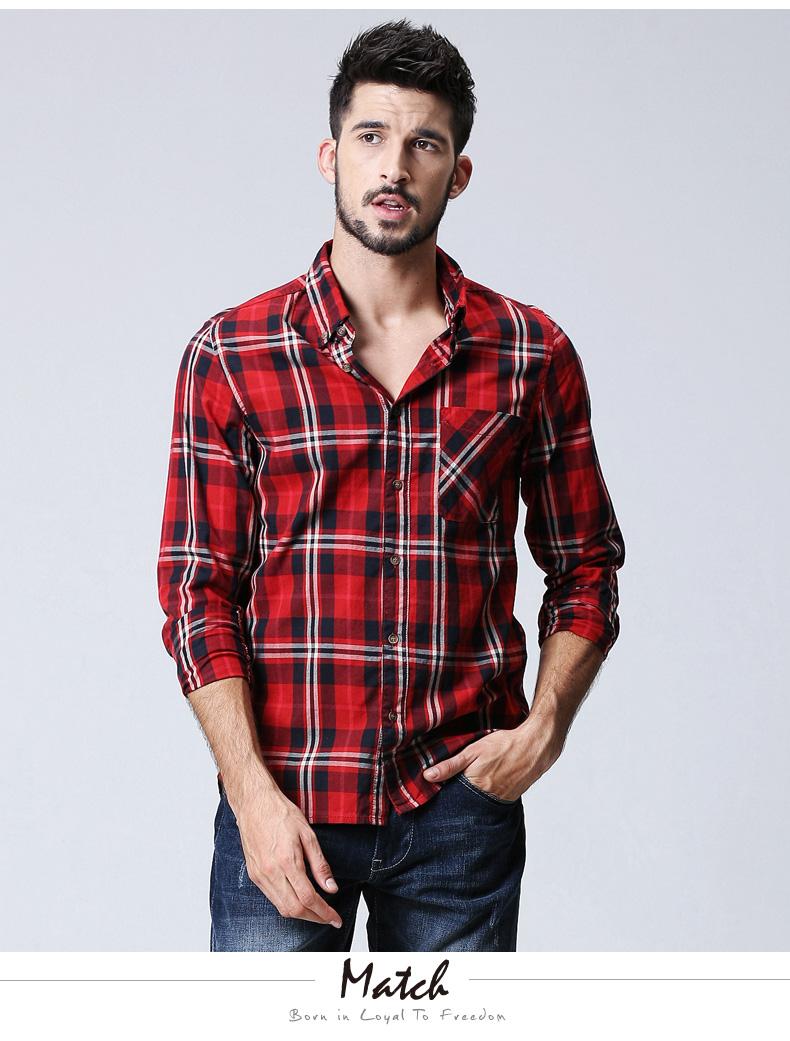 Match Maggie men's lad shirt long-sleeved shirt cotton casual autumn thin square collar top tide G2307 (G2307 Grid 7 5XL) 33 Online shopping Bangladesh