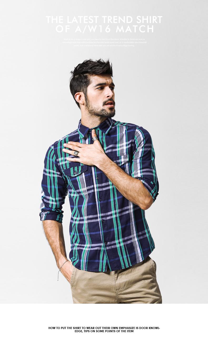 Maggie men's autumn big size fashion men's lad slim casual shirt men's long-sleeved shirt tide G2218 39 Online shopping Bangladesh