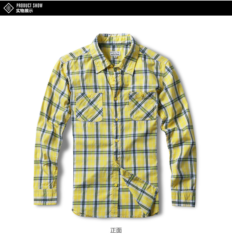 Match Maggie autumn men's lad shirt men's long-sleeved casual tide youth square collar wash shirt G2226A 36 Online shopping Bangladesh