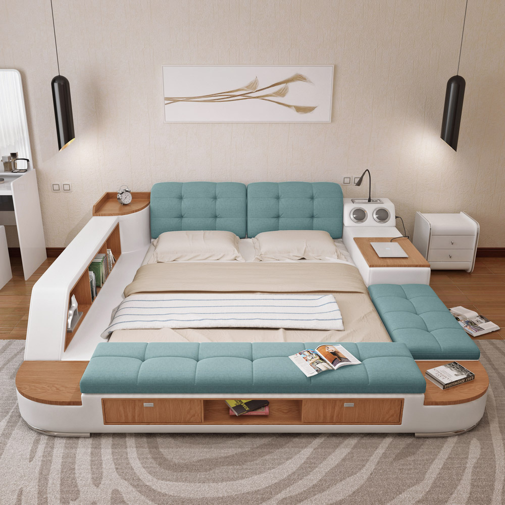 Usd tatami bed main bedroom modern simple storage - All in one double bed ...