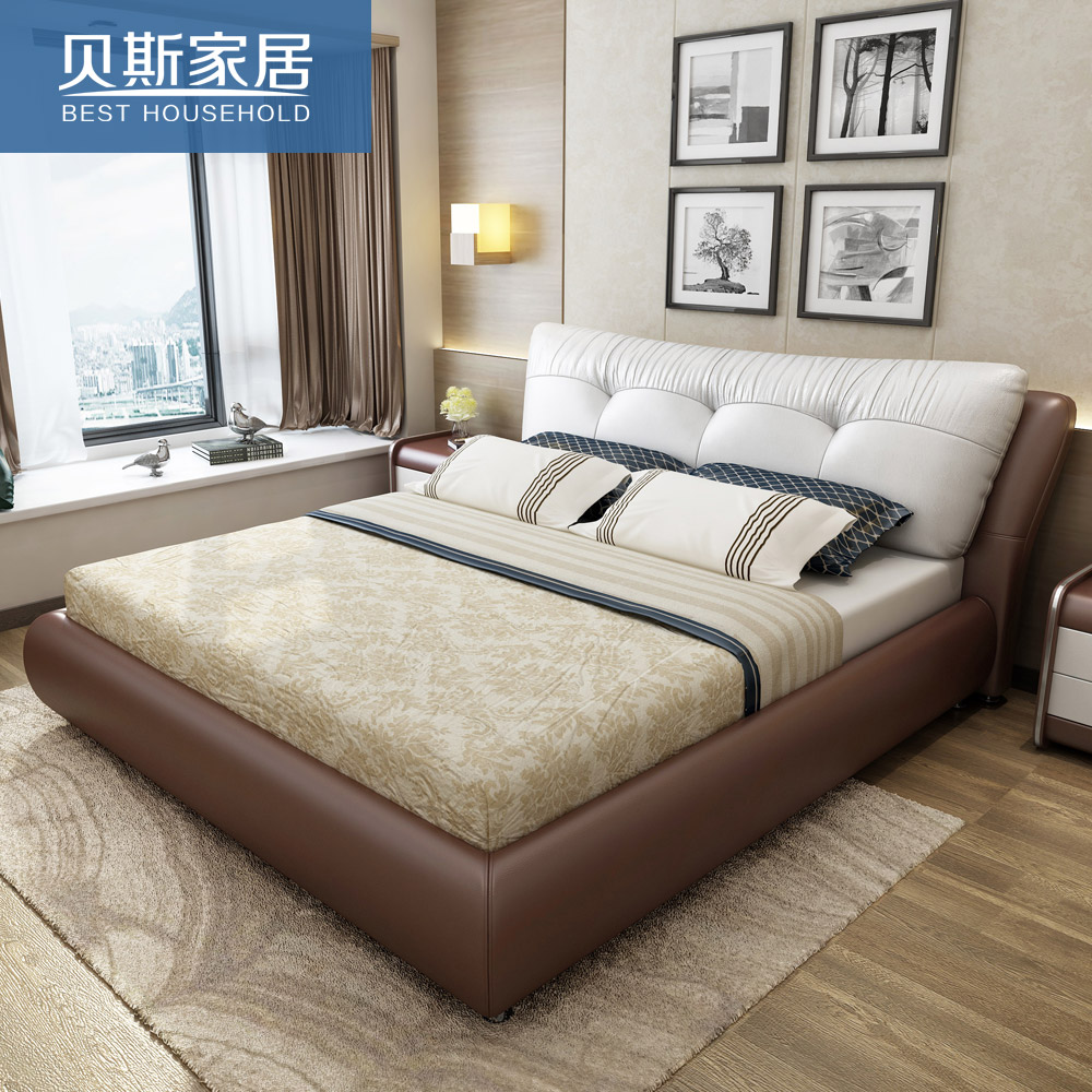 usd best leather bed imported leather bed 1 8 meters bed upscale atmosphere leather the. Black Bedroom Furniture Sets. Home Design Ideas