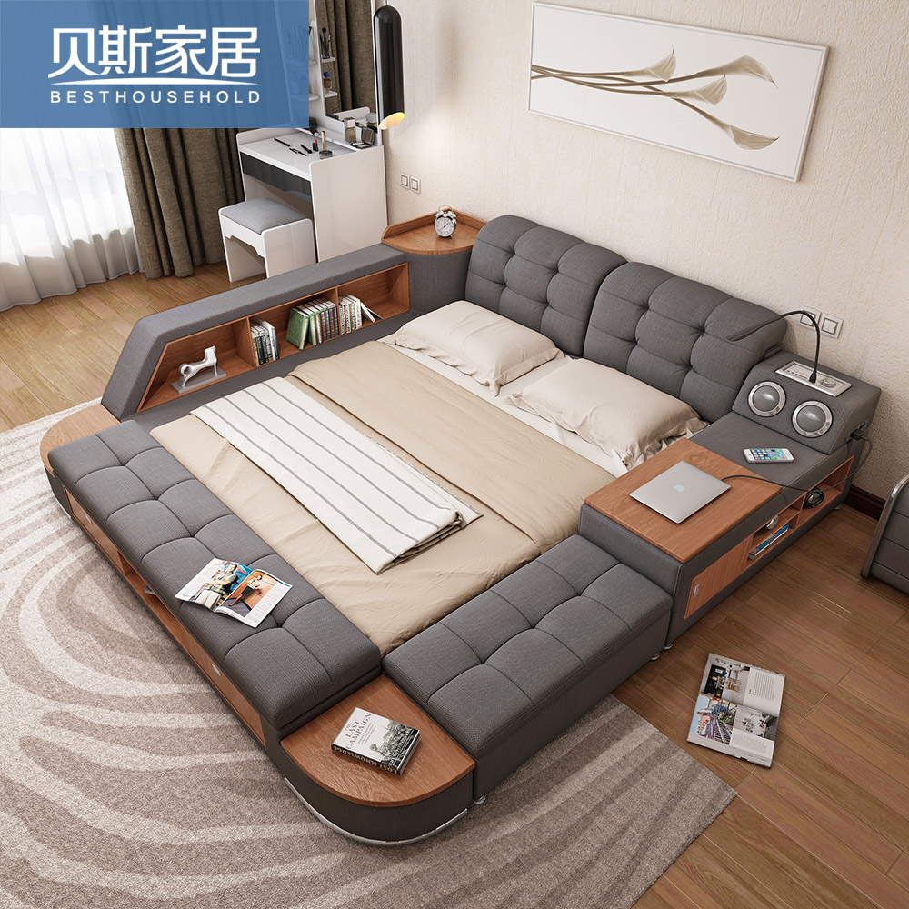 storage bed. tatami bed main bedroom modern simple storage double 1.8 meters fabric sound intelligent multi-function