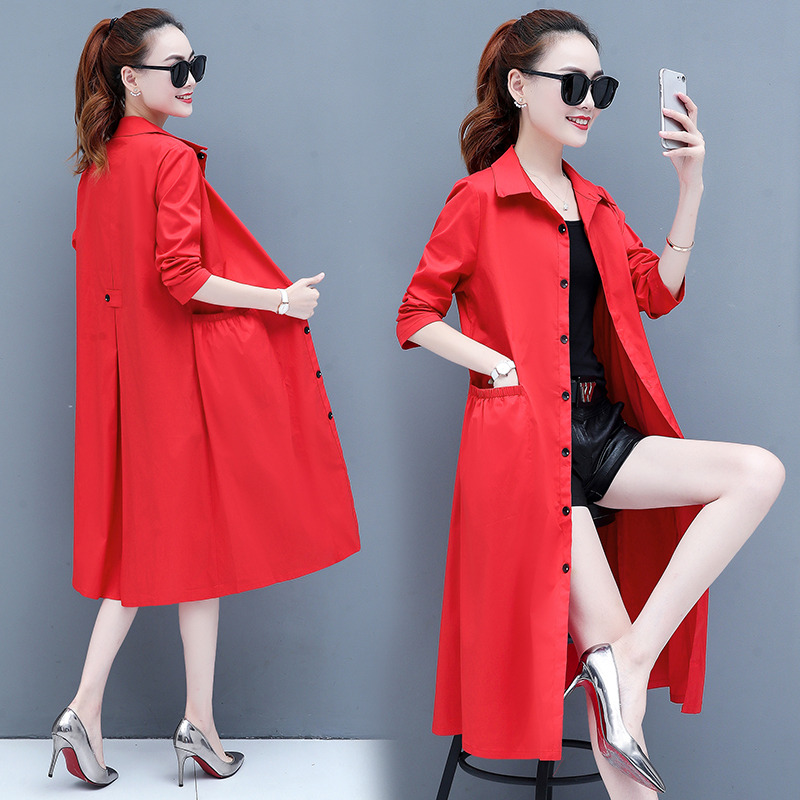 Red jacket women's korean style loose 2020 new spring and autumn popular medium long POLO collar thin over knee trench coat tide