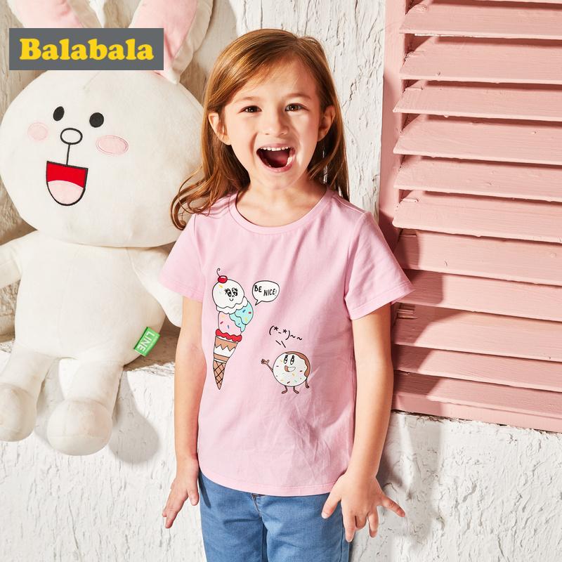 巴拉巴拉童装女童短袖t恤 纯棉宝宝夏装小童可爱印花打底洋气体恤_天猫超市优惠券