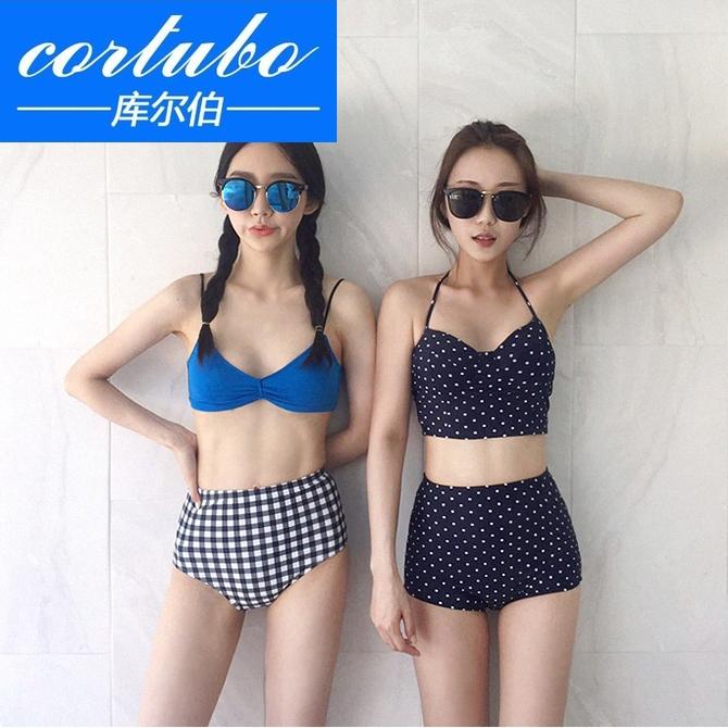 CORTUBO Phiên bản Hàn Quốc của làn sóng mới màu xanh chấm bi ngực nhỏ tập hợp áo tắm mỏng eo cao bikini - Bikinis