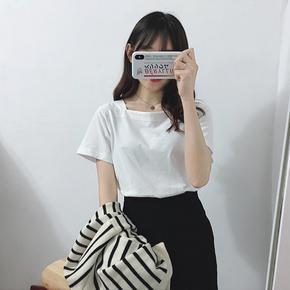 夏装韩版T恤修身显瘦开叉百搭上衣