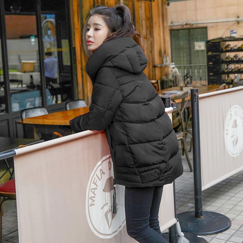 棉服女冬中长款加厚反季清仓特卖价修身显瘦收腰棉袄黑色冬季棉衣