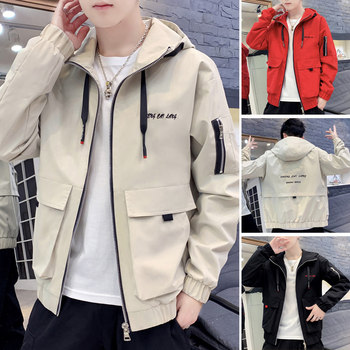 Men's new spring coat Korean loose casual frock jacket male tide brand men net red hooded coat