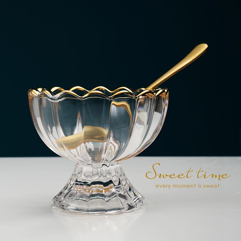 米立风物创意冰淇淋杯子甜品杯冰沙杯奶昔杯雪糕杯碟冰激淋玻璃碗