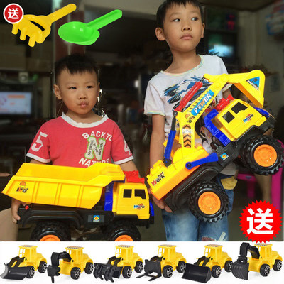 Oversized excavator construction vehicle toy set children's sliding excavator mixer truck dump truck car model