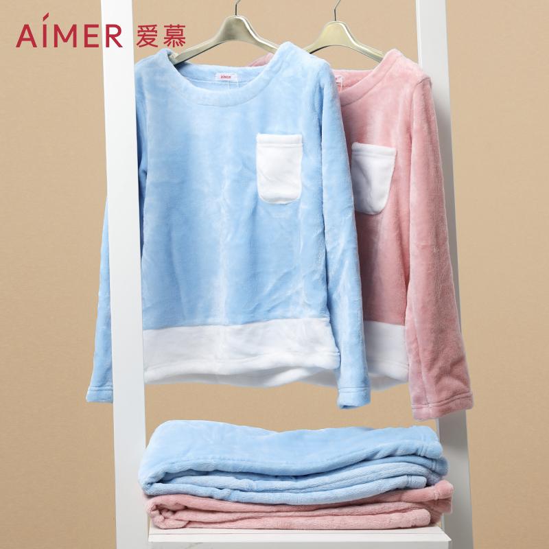 Aimer 爱慕 珊瑚绒 女式家居服睡衣长袖套装 天猫优惠券折后¥99包邮(¥199-100)2色可选 京东¥177