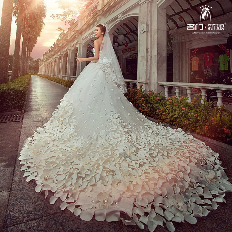 Mingmen bride wedding dresses bride 2018 the New Europe and the United States trailing wedding dress Princess dream wedding dress 991