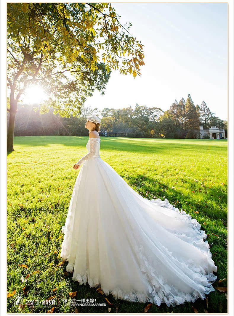 名门新娘 新娘结婚纱礼服 长袖一字肩梦幻花瓣大拖尾