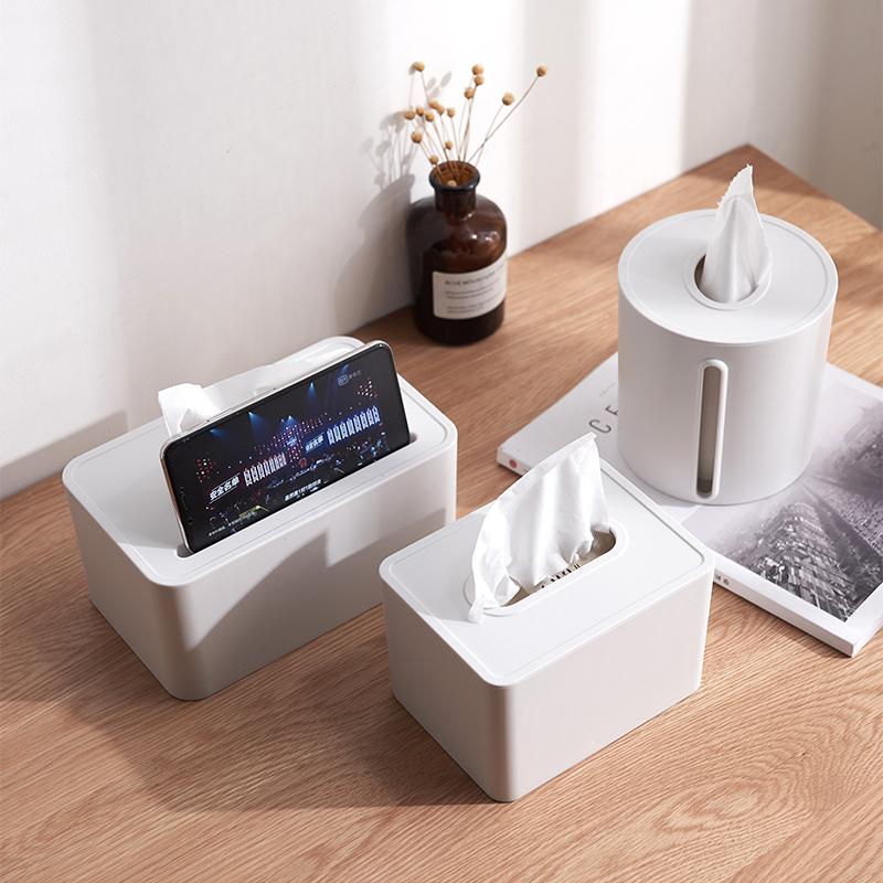 纸巾盒北欧ins抽纸盒简约家用客厅多功能收纳盒车载创意圆卷纸筒