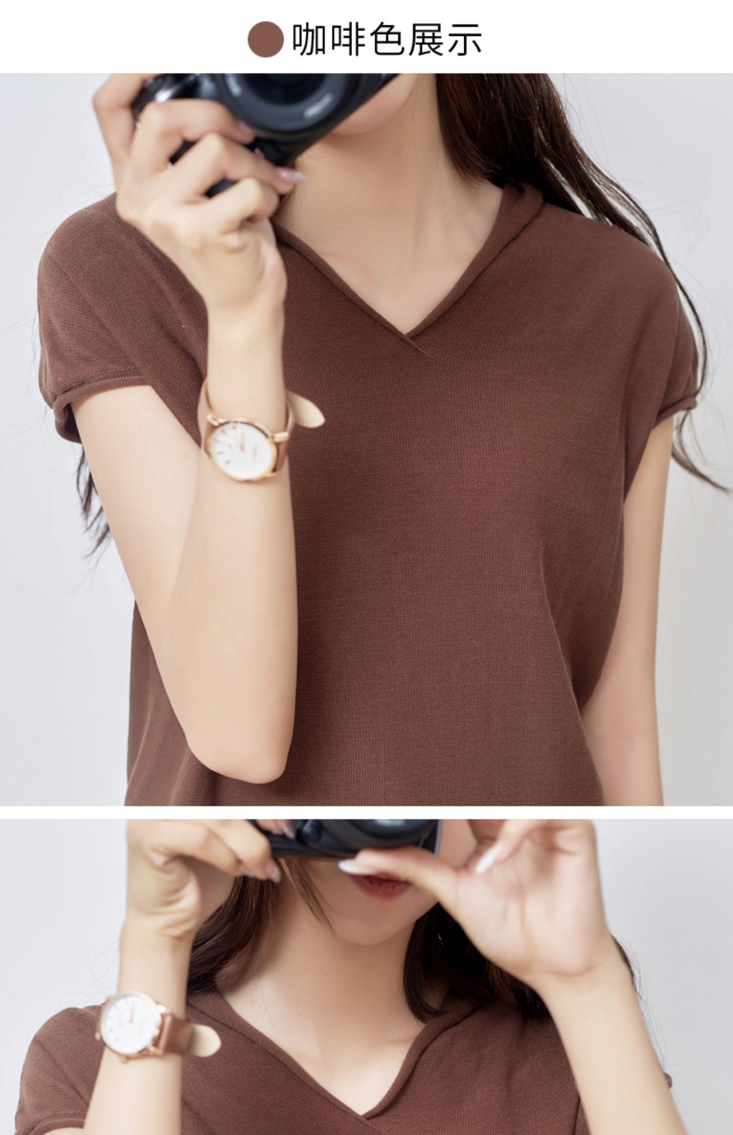 夏季新款!韩版宽松V领短袖针织衫女 29