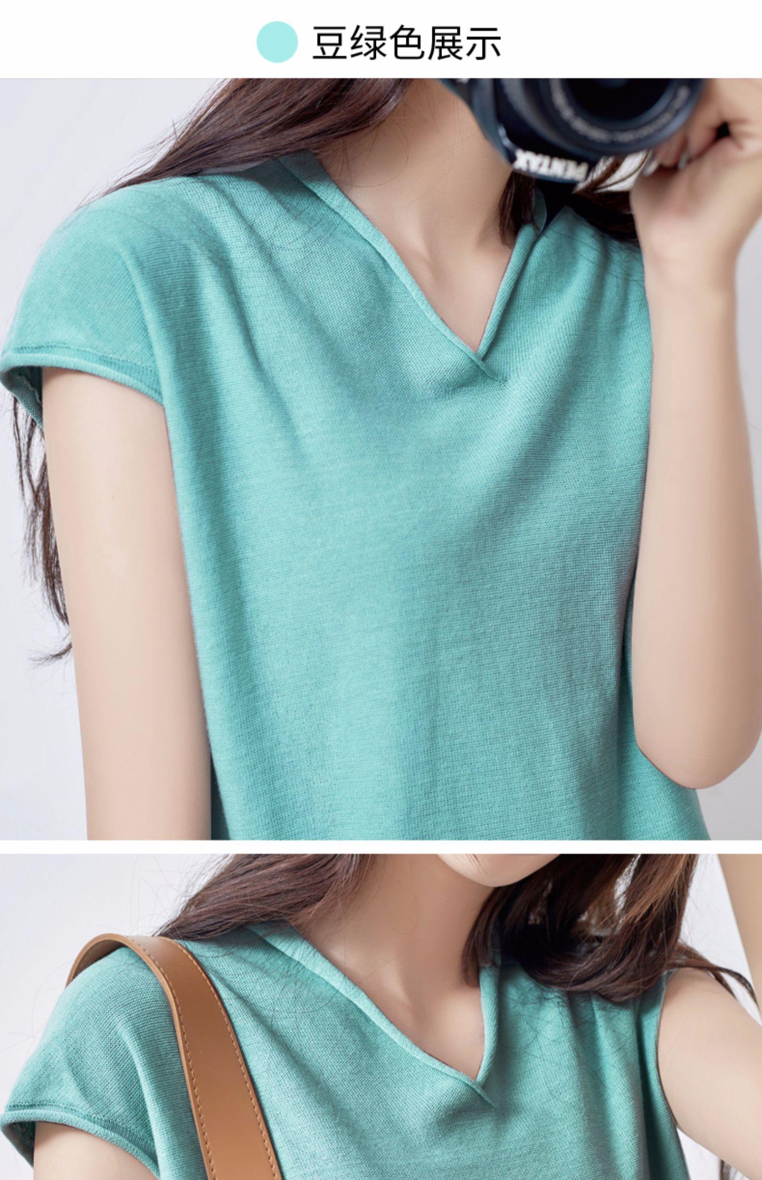 夏季新款!韩版宽松V领短袖针织衫女 19
