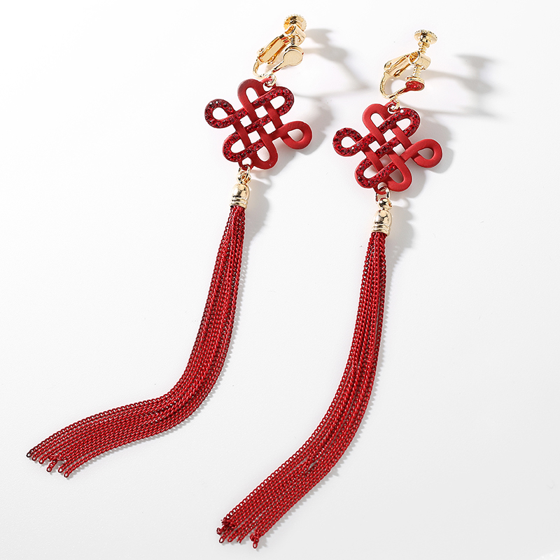 RED CHINESE KNOT EAR CLIP-H543
