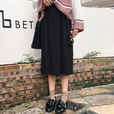 College wind elastic waist long skirts skirts Korean version of the autumn hem open fork knit skirt pleated skirt