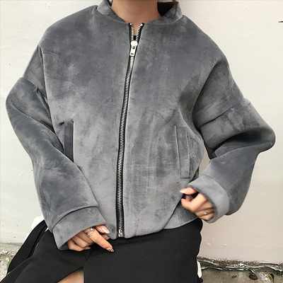 Winter Korean version of the chic wind women vintage Hong Kong zipper cardigan loose thick velvet long-sleeved jacket female short paragraph