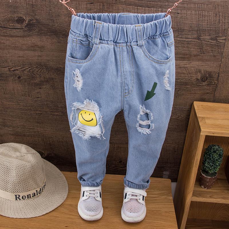 Quần jeans nam mùa thu 2018 phiên bản Hàn Quốc mới của quần lỗ trẻ em thời trang trẻ em quần mỏng phần thủy triều