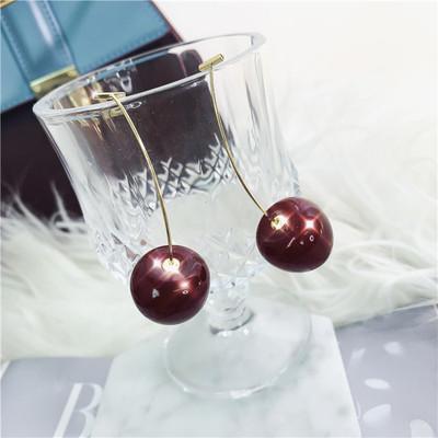 秋冬新款酒红色车厘子超仙气质樱桃复古网红时髦耳环耳钉女人
