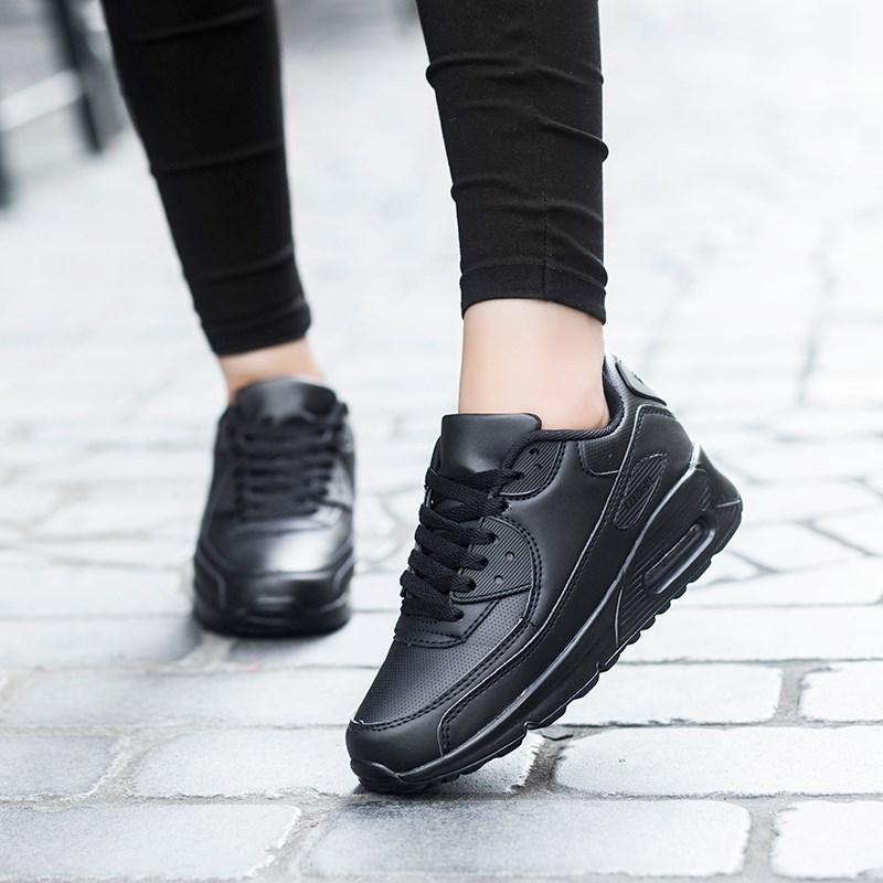 2018全黑色鞋子运动鞋女韩版厚底跑步鞋男字U全皮面max90气垫鞋潮